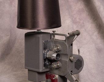 "Retro steampunk vintage lamp made from 1940's Kodak ""Kodascope"" movie projector"