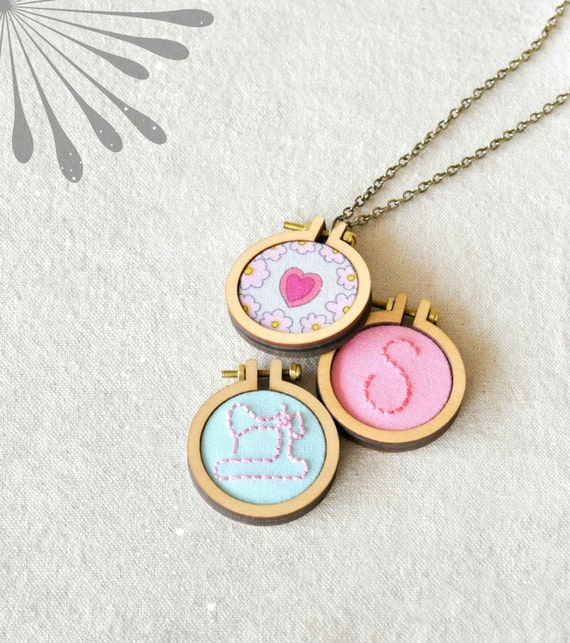 Diy necklace kit mini embroidery hoop frame with