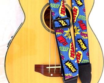 Comic Words Cartoon Guitar Strap