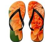 Orange Bloom - Summertime Flip Flops Slippers Aloha Thongs - Orange Bloom, Blossom, Nature, Photography