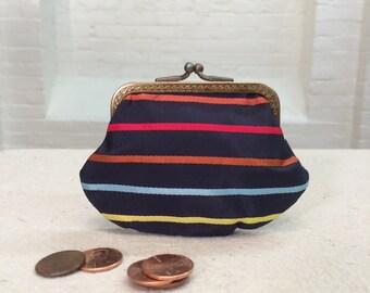 vintage change purse // striped fabric // 1950s