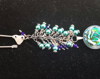 Peacock Rose, Swarovski crystal and pearl, key chain, zipper pull, blue and cobalt