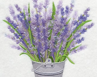 French Lavender in Pail Embroidered on Made-to-Order Pillow Cover