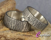Wedding Ring Set Wood Bark, Tree Bark Texture Ring, Oxidized Sterling Silver, Matching His and Hers Thick Wedding Bands - FREE Engraving