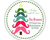 Mustache Christmas Tree Stickers - Pink, Red, Teal, and Green Christmas Tree Personalized Address Label Stickers - 20 Round Holiday Labels