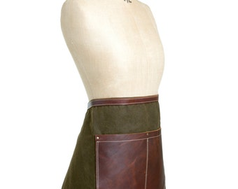 Waxed canvas and leather half apron in Olive & Tan - gardening, barista, bar