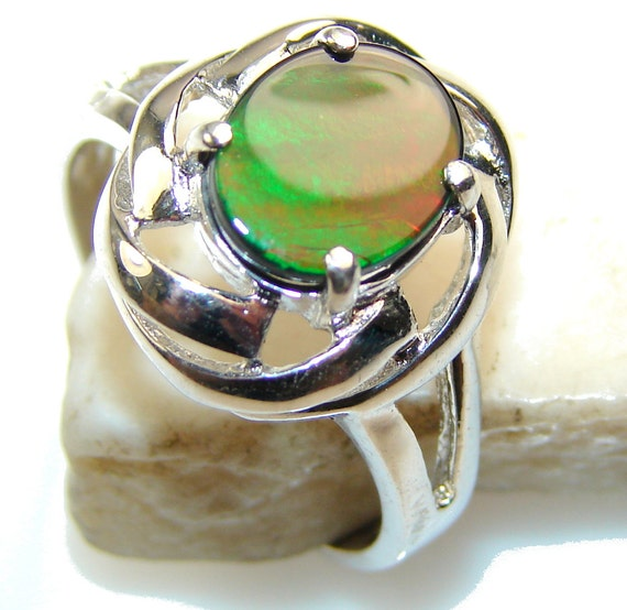ammolite sterling silver ring weight 4 00g by silverrushstyle