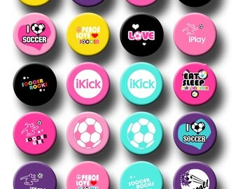 Soccer Sports Theme Party Favors 1 inch pinback button or flatback button, pin badge Soccer Team Theme Party