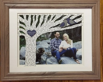 Anniversary Gift, Wedding Gift, Personalized Anniversary Gift with Song Lyrics on Tree - Customized with YOUR PICTURE and 10x13 Framed