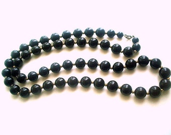 Long Black Necklace Large Black Resin Beads 30 Inches