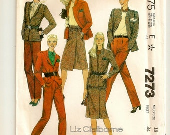 "A Liz Claiborne Separates Sewing Pattern for Women: Front Wrap Skirt, Lined Jacket & Pleated Pants -Uncut- Size 12, Bust 34"" • McCall's 7273"