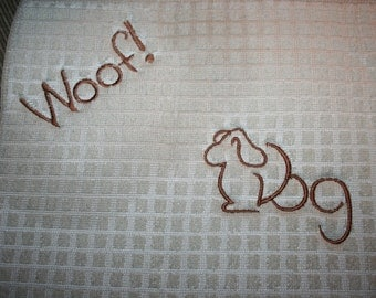 """Dog Dish Mat """"WOOF"""" tan with brown machine embroidery Can be personalized with dogs name for extra"""