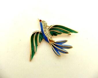 Crown Trifari Bird Brooch Pin Gold Tone Pave Crystal Enamel Split Tail Swallow