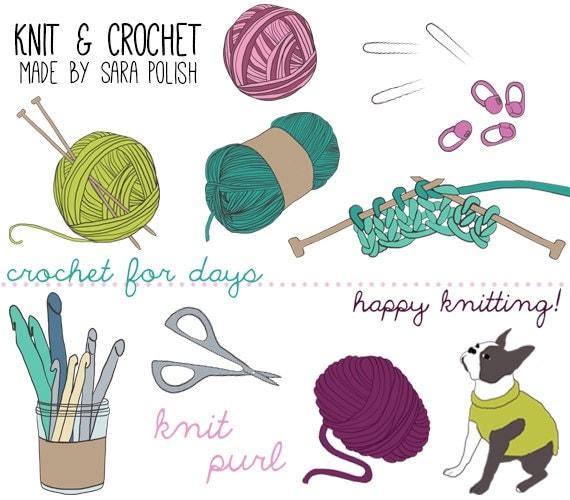 Knit And Crochet Clipart : Items similar to digital clip art knit crochet crafty