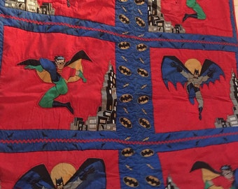 Batman and robin boys quilt 3x5' reverse has sports fabric