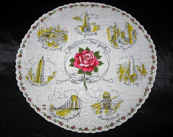 State Handkerchiefs Souvenirs Map New York Round State Hankies Hankerchief Designer Hanky Collectible