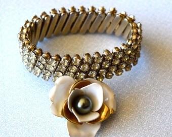 Repurposed Rhinestone Bracelet w/vintage earring