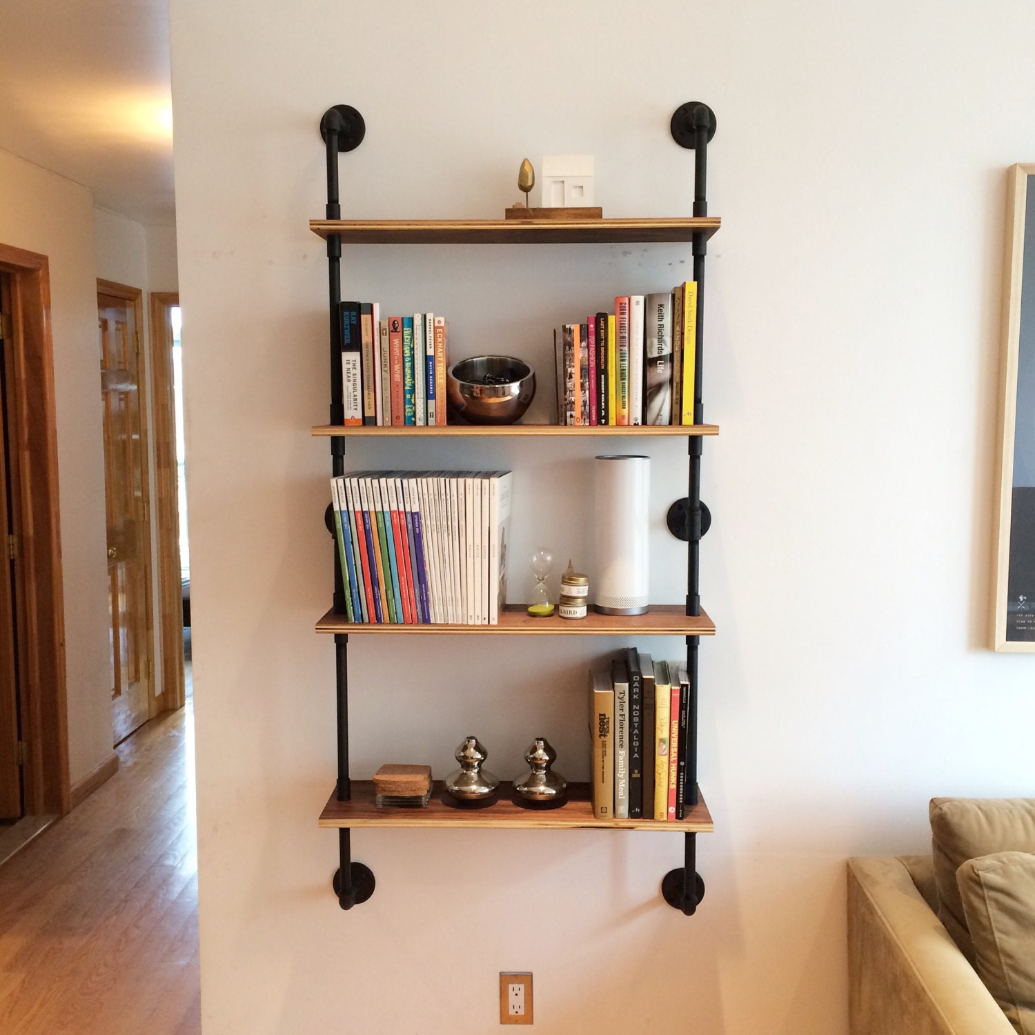 wall mounted pipe shelving unit by cushdesignstudio on etsy. Black Bedroom Furniture Sets. Home Design Ideas