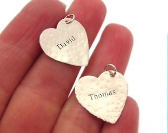 Name Heart Charm - Sterling Silver Personalized Necklace Add On - Heart pendant