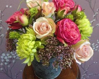 Artificial Flower Silks Pink Roses Bucket Arrangement