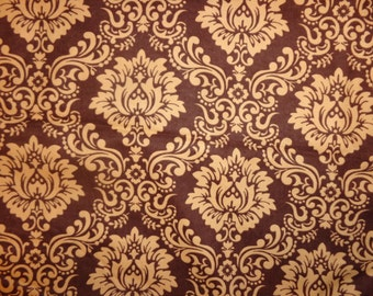 Brown Damask Flannel Fabric by the Yard
