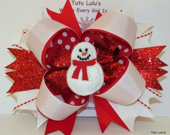Christmas Hair Bow, Snowman Hair Bow, Red and White Hair Bow, Holiday Hair Bow, Super Stacked Hair Bow,