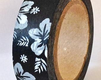 "SALE Washi Tape ""Hawaiian Hibiscus"" White on Black  10 Meters"