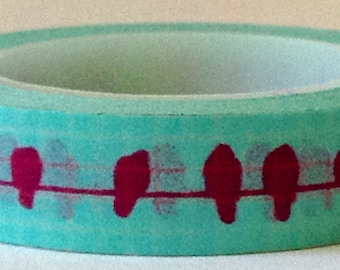 """Washi Tape Thin Roll """"Birds on a Wire""""   10mm Wide"""