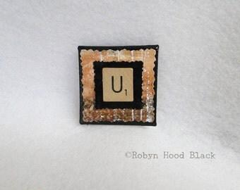 Letter U Upcycled Scrabble Tile Magnet