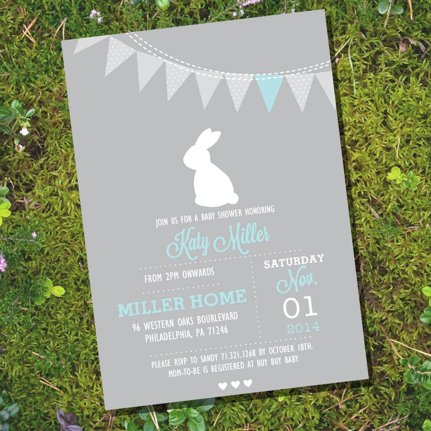 Bunny Baby Shower Invitation For A Boy Or Girl Gray Bunny