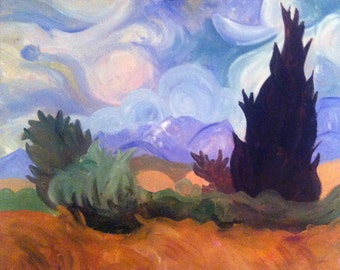 Remix of Van Gogh's Wheat Field with Cypresses