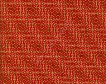 Metallic Gold Geometric Cherry Blossoms on Red - Diary of A Geisha Collection - Studio e 2816M-88 (sold by the 1/2 yard)