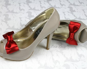 Valentine's Day Red Shoe Bows, Red Bow Shoe Clips, Red Wedding Accessories Shoes Clip, Red Bow Clip Shoes