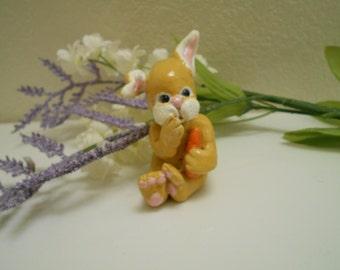Ooak Art Handmade Pure Sculpt Easter Bunny With Carrot.