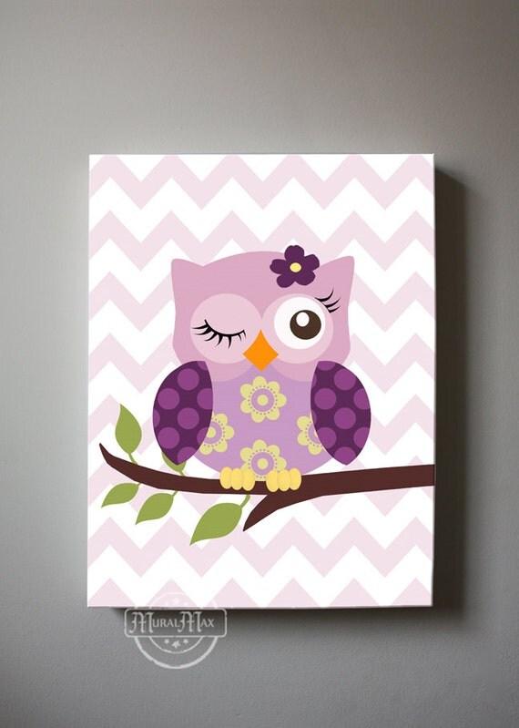 Owl Baby Bedroom Decor: Baby Girls Room Decor Nursery Owl Art Orchid Nursery