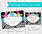 Ice Skating Thank You Cards- Instant Download