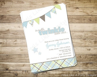 Custom Blue and Green Twinkle Twinkle Baby Boy Shower Invitation