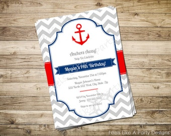 Custom Nautical Birthday Party Invite with Anchor
