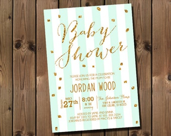 Mint and Gold Glitter Baby Girl Shower Invitation _1158