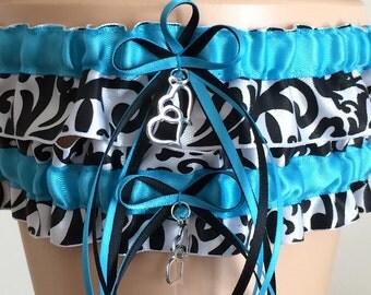 Turquoise Damask Wedding Garter Set, Bridal Garter Set, Keepsake Garter, Prom Garter, Wedding Accessories, Garters