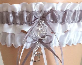 Wedding Garter Set, Bridal Garter Set, White and Silver Garter Set, Keepsake Garter, Prom Garter, Wedding Accessories