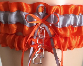 Orange and Silver Wedding Garter Set, Prom Garter, Bridal Garters, Keepsake Garter, Garters, Wedding Gift