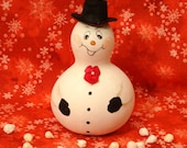 Snowman Gourd, Top Hat, Bow Tie, Small, Handpainted (SN432)