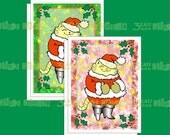 Jolly Mr. Santa Cat Christmas Greeting Cards & Envelope Template Instant Digital Download