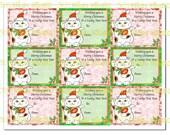 Lucky Maneki Neko Santa Cat 9 Gift Tags in Red and Green Instant Digital Download
