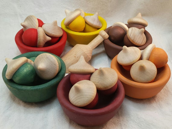Autumn Acorn Color Sorting Bowls //  Wooden Bowls & Acorns // Wooden Educational Toy // Montessori // Waldorf