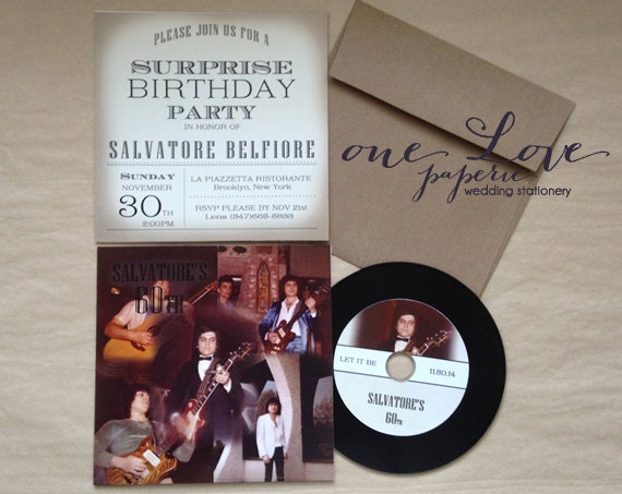 Birthday Custom CD record style Invitation