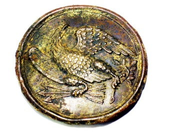 Civil War Belt Buckle, Eagle with Arrows and Olive Branch, Lead-filled Brass, Militaria