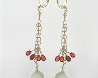 Gold filled, garnet and green chalcedony earrings.