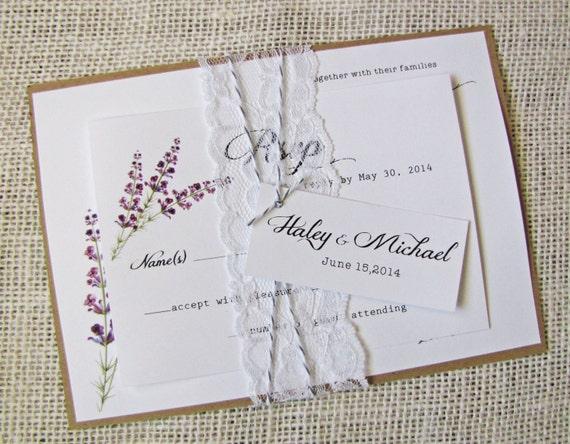 Purple Rustic Wedding Invitations: Lace Wedding Invitations Rustic, Lavender, Lilac, Purple